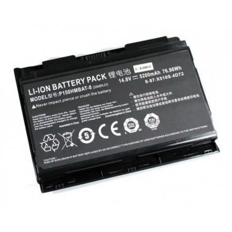 Replacement battery CLEVO P150EM/P150SM 8-CELL 76.96WH